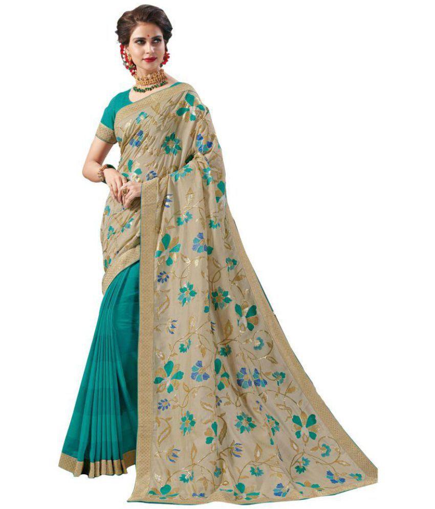 Laxmipati Green and Beige Silk Saree