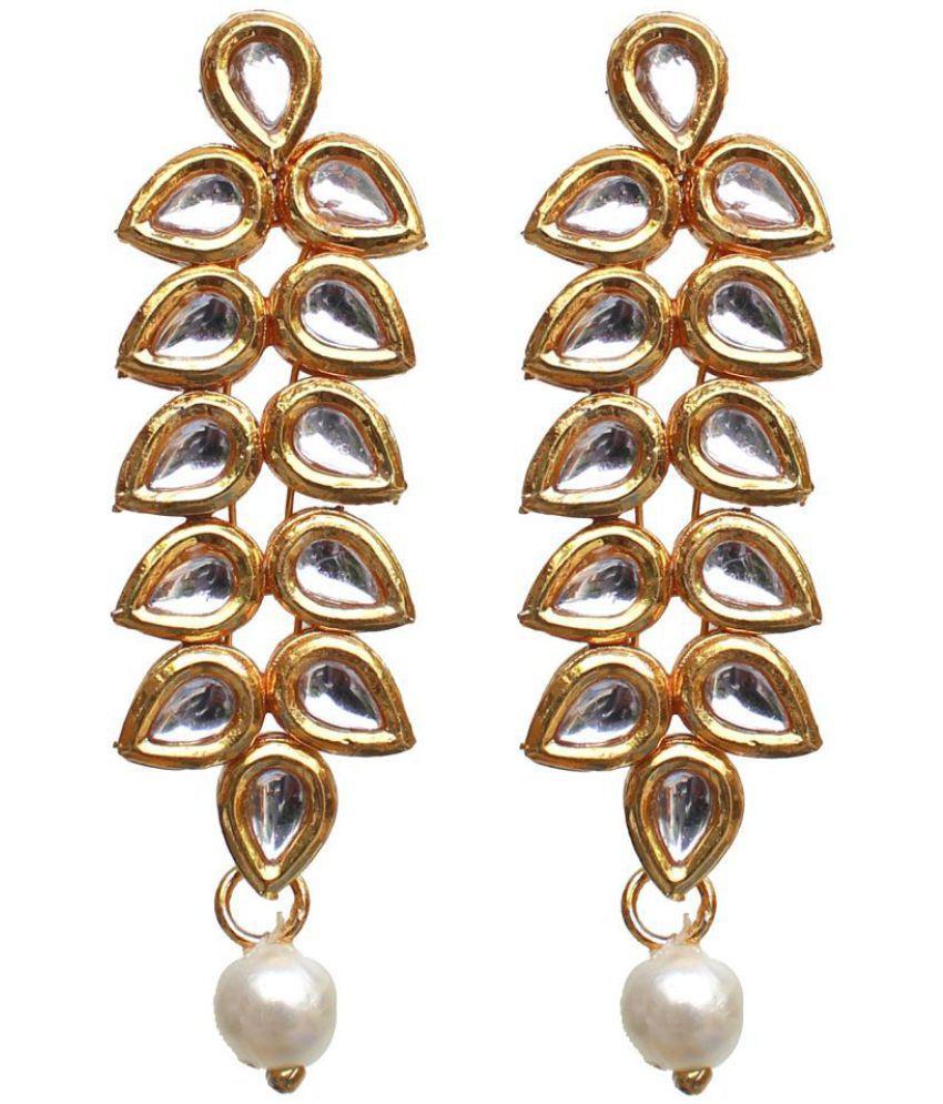 Lucky Jewellery Designer White Color Gold Plating Kundan Earring For S Women