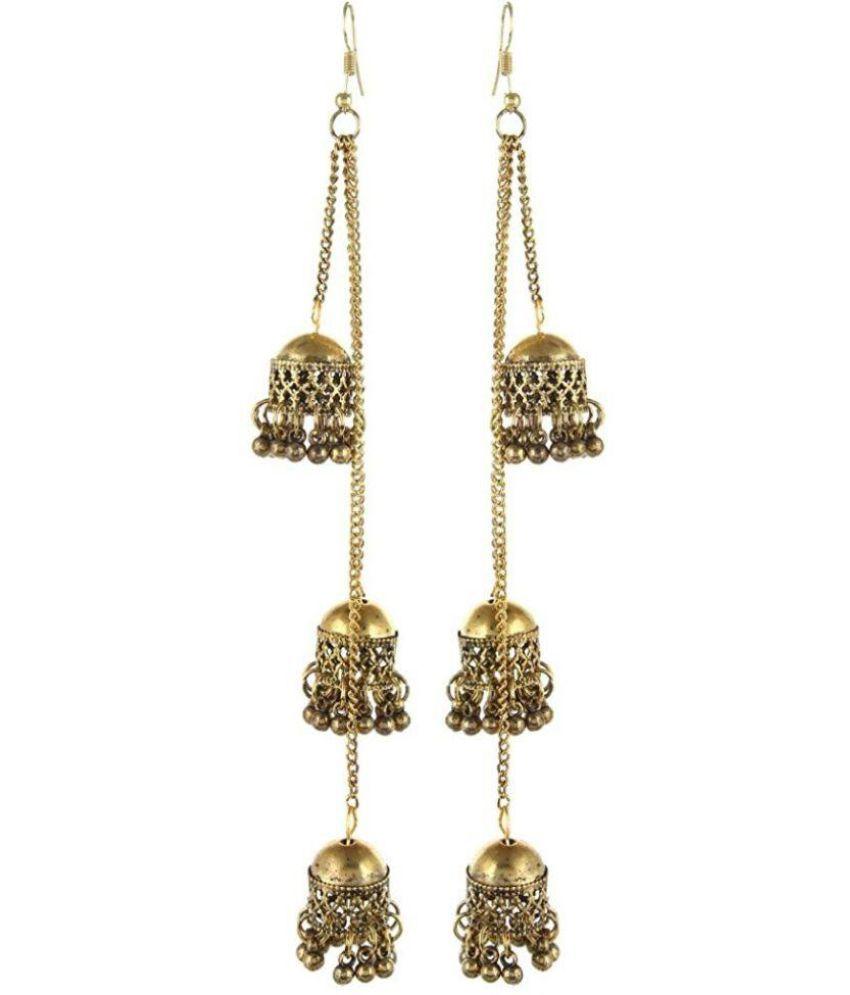 Tiptop Afghani Kashmiri Oxidized Golden OR silver tripple jhumki Long Earrings.