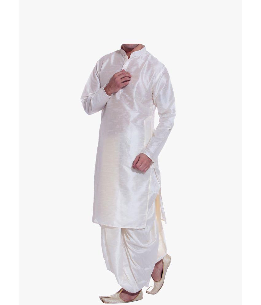 e60db867d inyour White Silk Dhoti Kurta Set - Buy inyour White Silk Dhoti ...