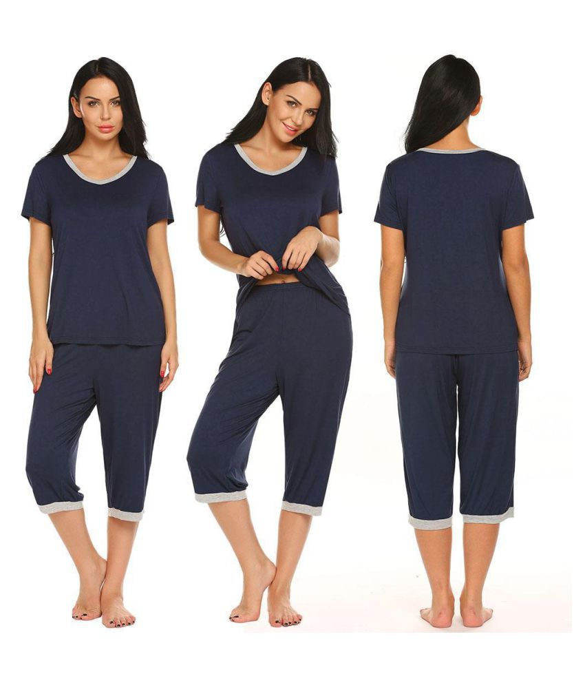 Generic Rayon Nightsuit Sets - Blue