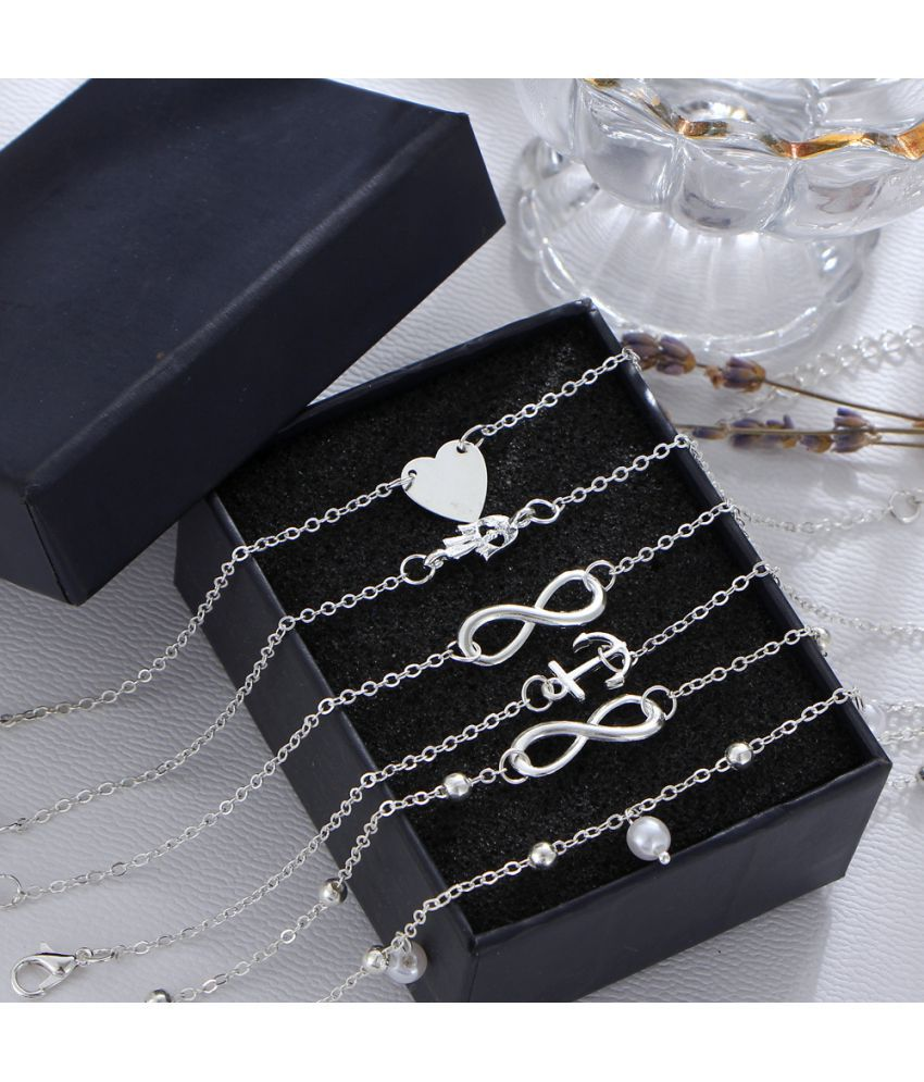 5 Sets Of Peach Heart Anchor Head Pearl Alloy Foot Chain  Fashion Ladies Anklet Bracelet Multi Group Decoration