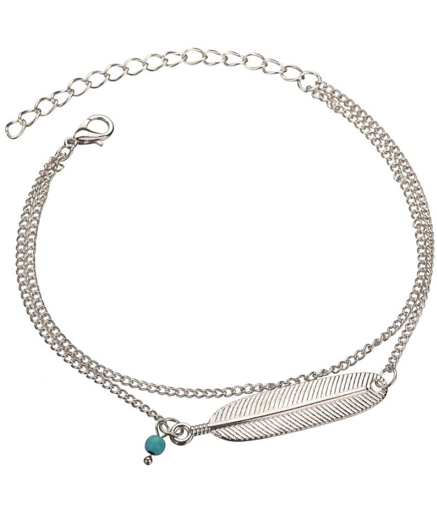 Cross - Border For Retro Alloy Feather  Foot Chain Female Double Foot Chain
