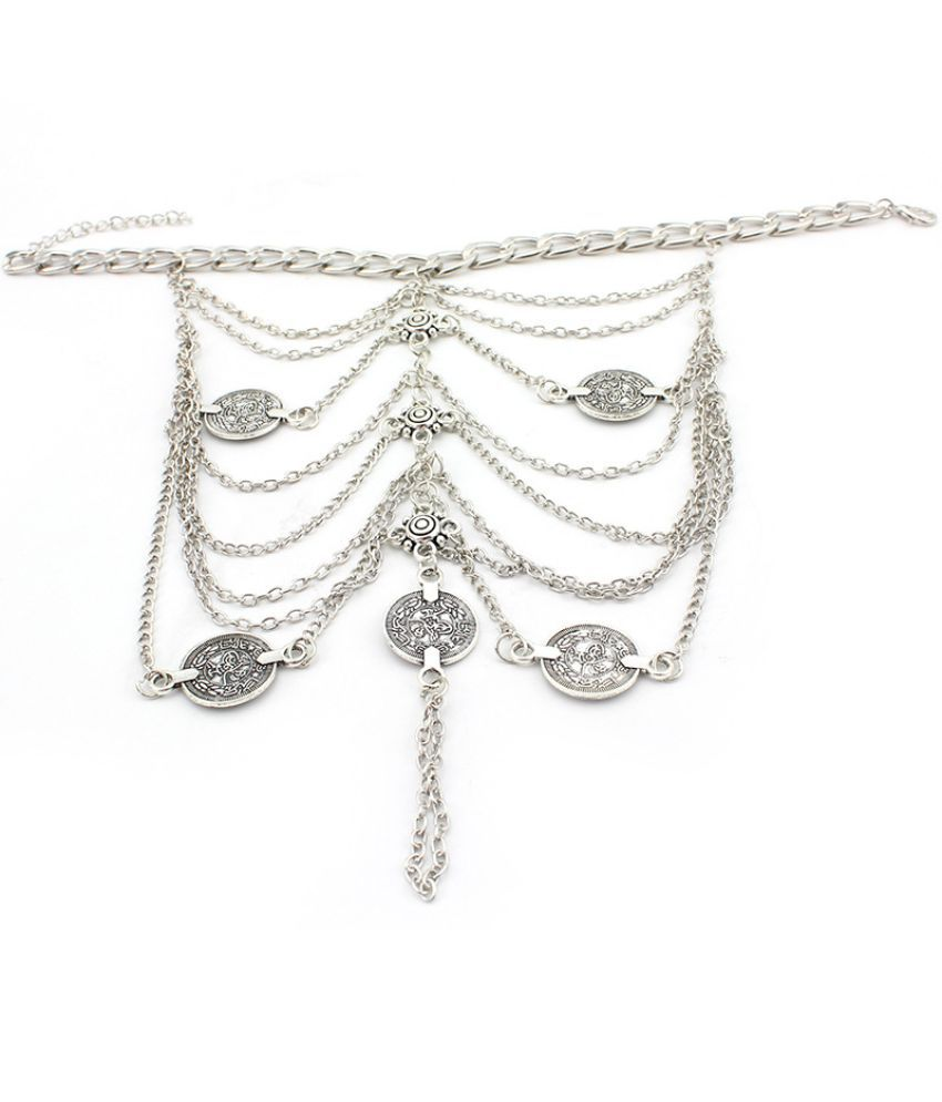 E0032  Jewelry Punk Wind Metal Heavy Industry Coins Multi-Layer Beach Tassel Chain Anklet