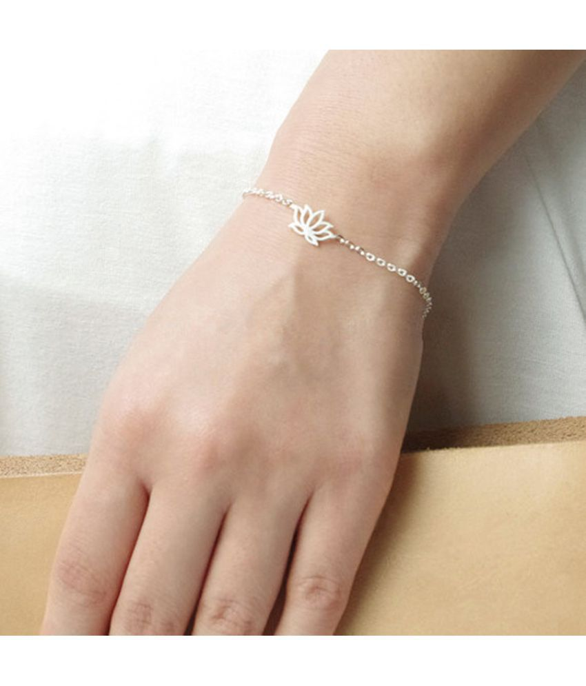 Fashion Accessories Elegant Lotus Bracelet Alloy Electroplated Lotus Flower  Bracelet Chain