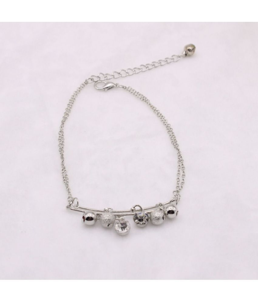 Fashion Vintage Crystal Bell Anklet Fringes Double Legs Small Fresh Scrub Balls Female Anklets