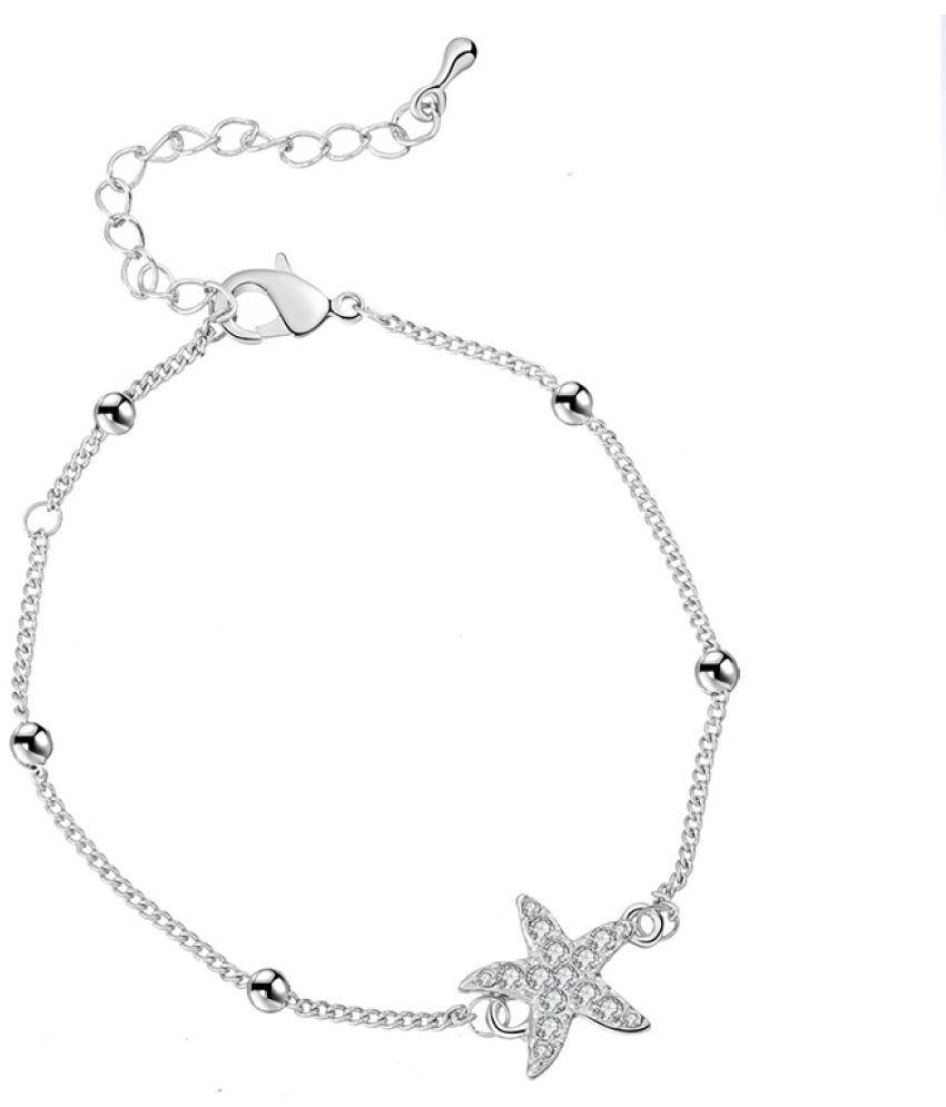 Foot Chain Women'S Fashion Simple Bell Multilayer Stars Rhinestone English Letters Women'S Retro Silver Jewelry