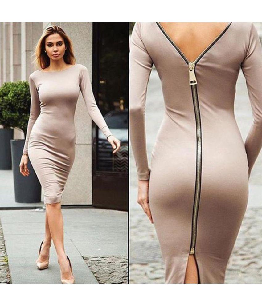 Generic Polyester Brown Asymmetric dress