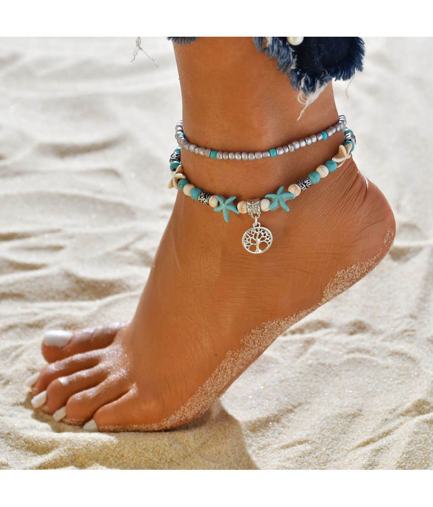 Hot Ethnic Wind Beach Elep T Shell Yoga Anklet Chain Conch Chain Accessories