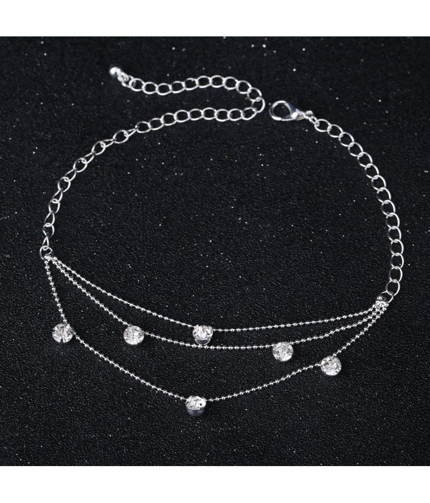 Jewelry Fashion Inlay Diamond Layer Simple Crystal Bride Anklet