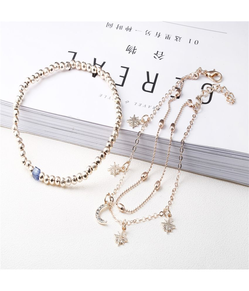 New  Anklets Fashion Retro Beads Stars Moon Beach Anklets Ladies Fashion Accessories Fz0054