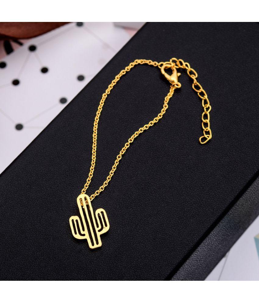 Pop Chain Bracelet Hollowed Cactus Bracelet Gold Silver Plated Tropical Plant Bracelet Chain