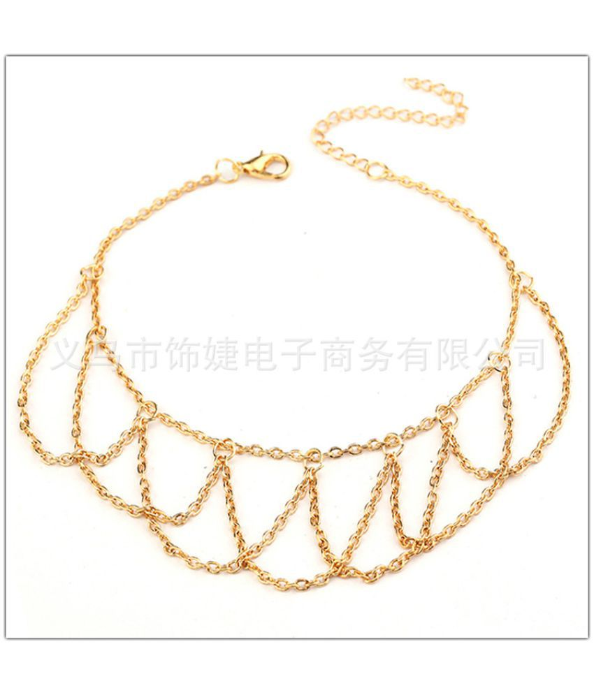 S  America Fashion Simple Summer Beach Multi Storey Chain Wavy Tassel Long Chain Bracelet