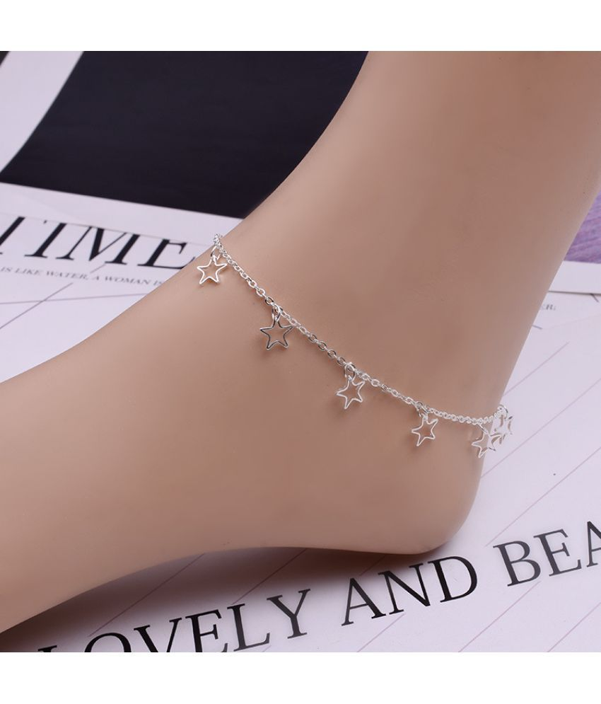 Simple Simple Hundred Dang Sen Department Red Rope Sen Solid Silver Fighter Chain South Personality Retro Version Student Leg Chain Fresh