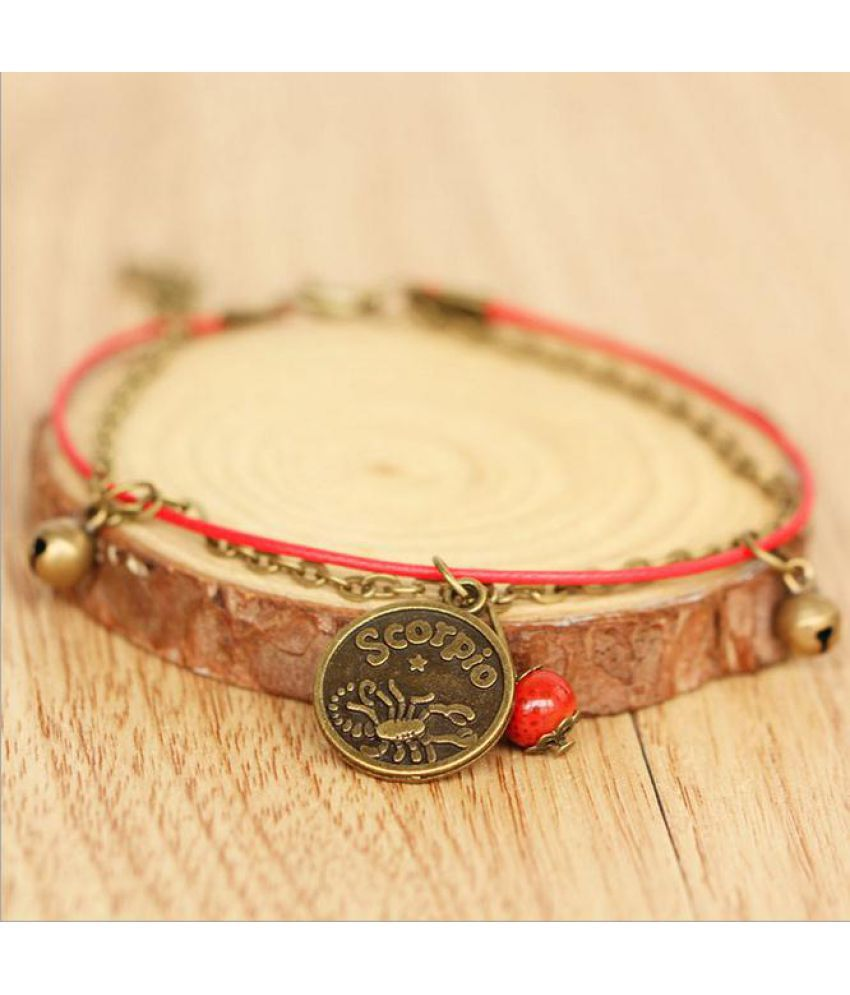 Twelve Constellations Of Leather Rope Woven Red Rope Anklets Holiday Beach Anklets Bracelets For Men Women Lovers Bracelet Jewelry