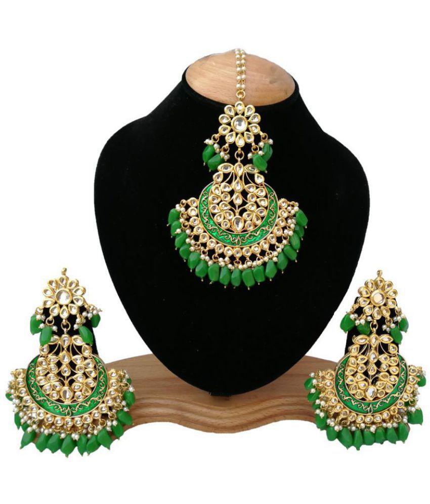 Finekraft Kundan Chandbaali Earrings and Maang Tikka Set
