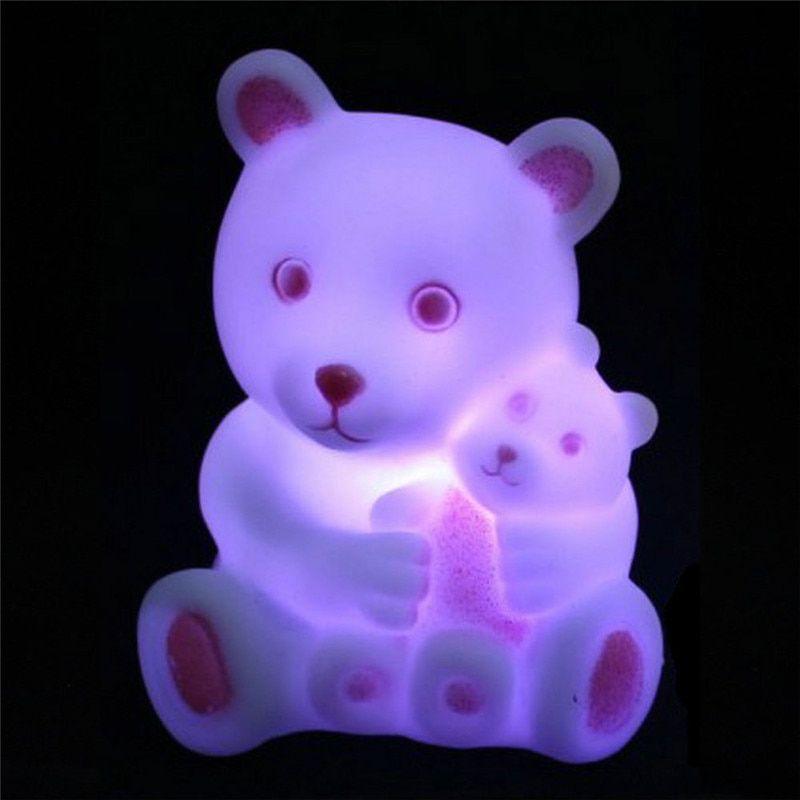 MKcat Lovely Bear LED Cartoon Night Light RGB Home Decoration Night Lamp Cute Fixture Night Lamp Multi - Pack of 1
