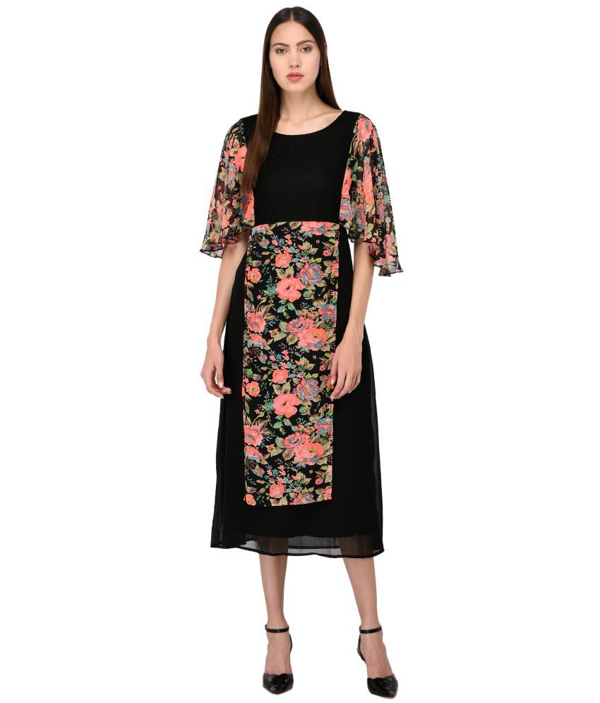 Triraj Georgette Black A- line Dress
