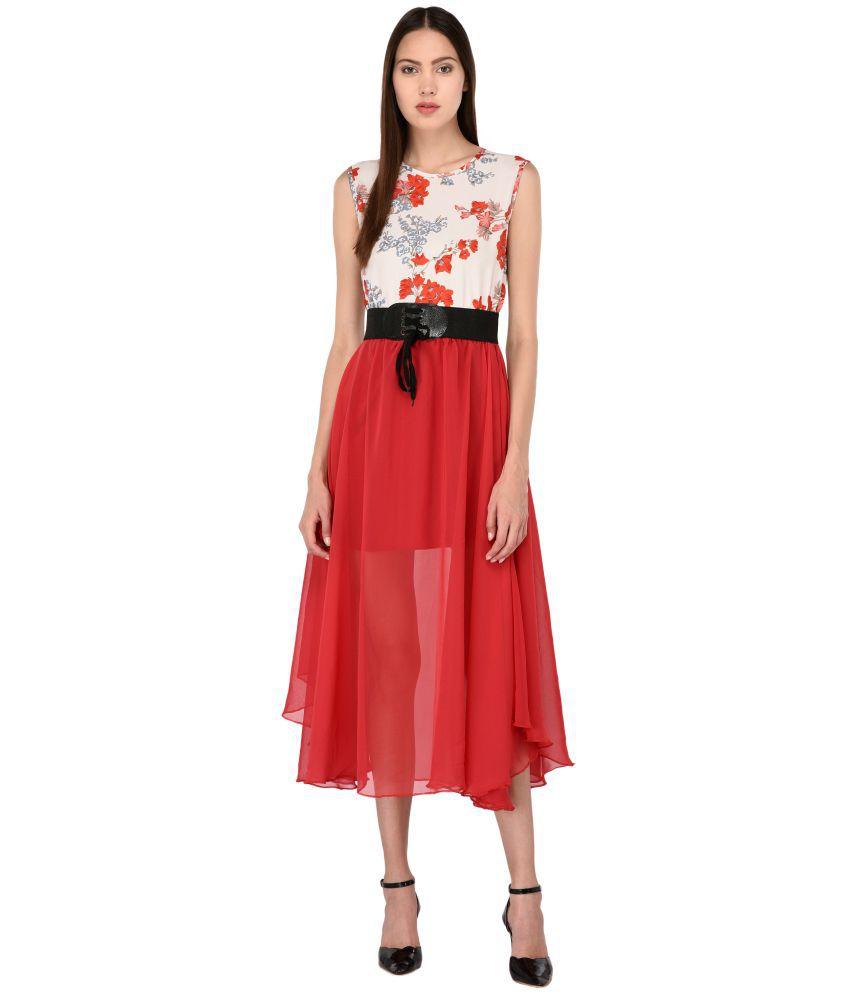 Triraj Georgette Red A- line Dress