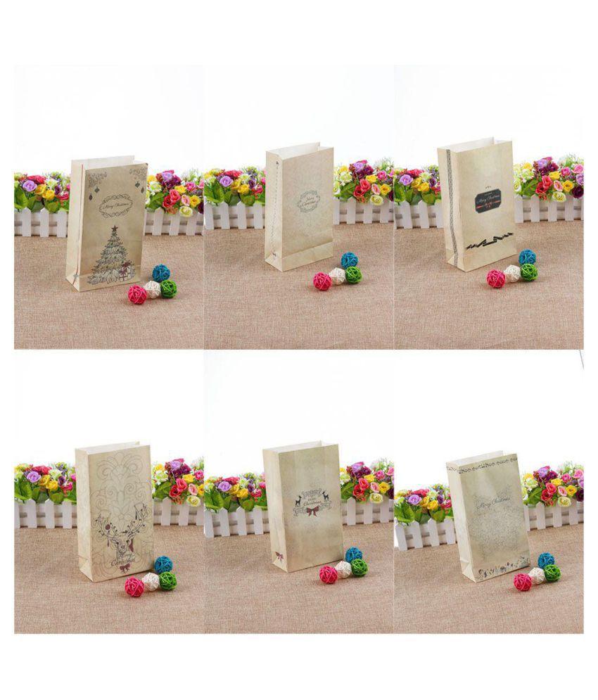 5 Pcs Kraft Paper Xmas Party Holiday Cookies Present Gift Bag Luxury Wedding Bag