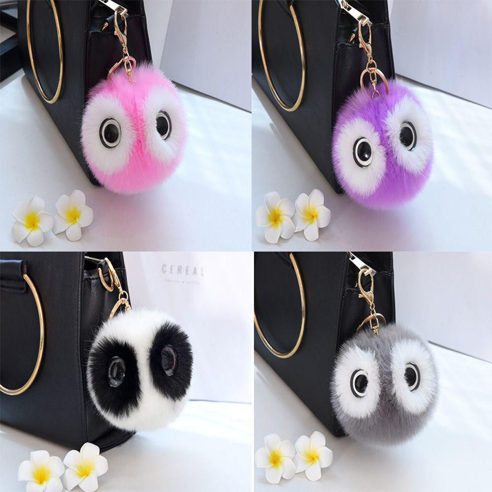 ... Cute Fluffy Faux Rabbit Fur Panda Plush Key Chain Car Pendant Women  Bags Key Rings New ... e61809fb90