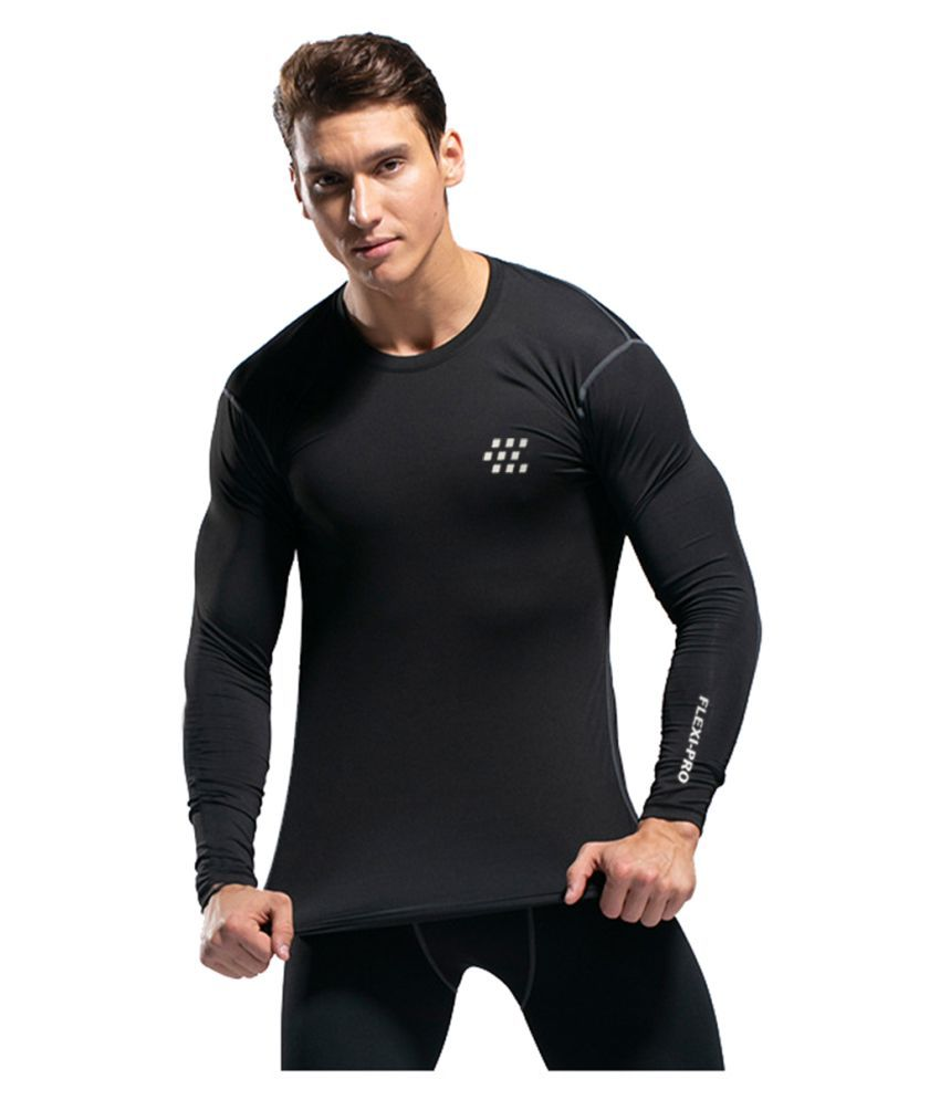 Zesteez Mens  FULL SLVS Stretchable COMPRESSION SUPPORT Gym and Sports Wear Tshirt for Men