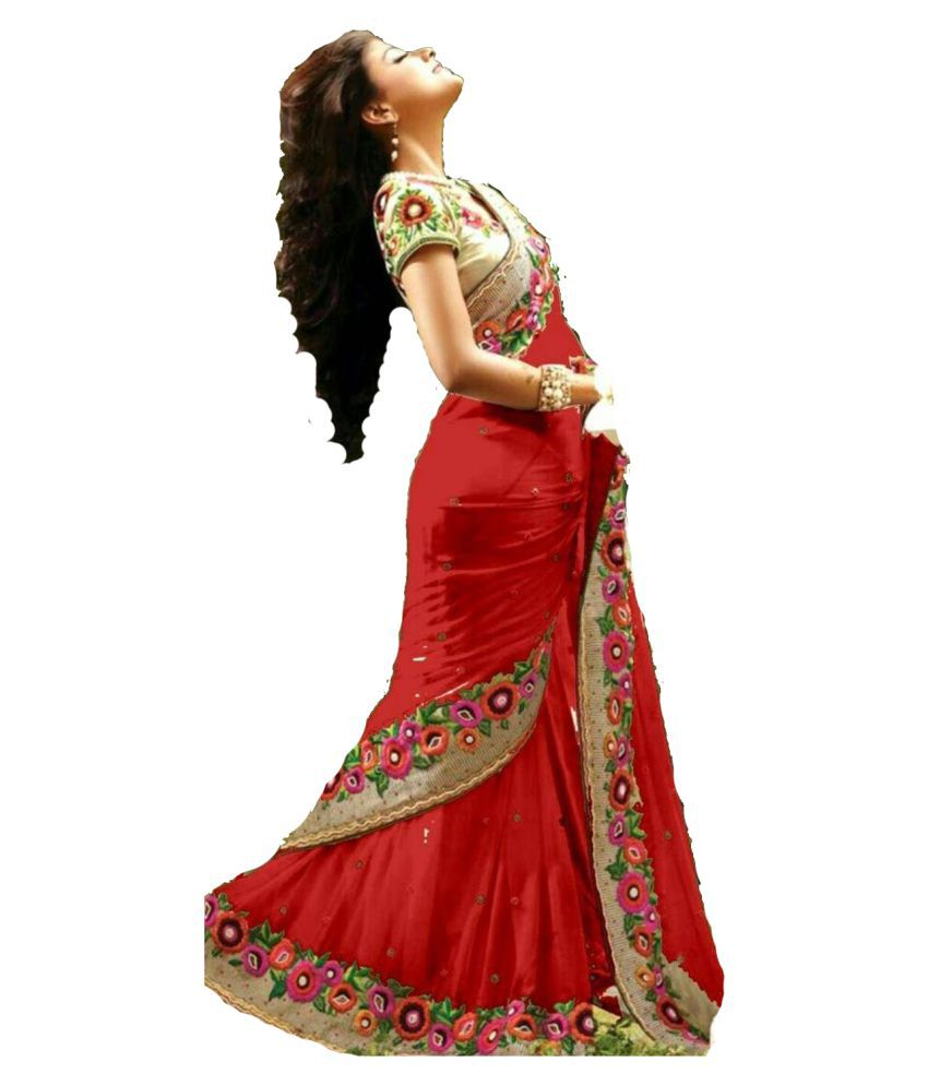 Universal Fab Red and Beige Georgette Saree