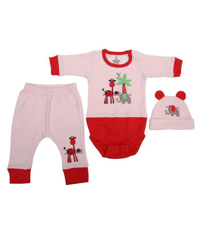 Kaboos Designer Romper, Long Pant With Cap - Gift Set for Baby Girls (Party Dress)