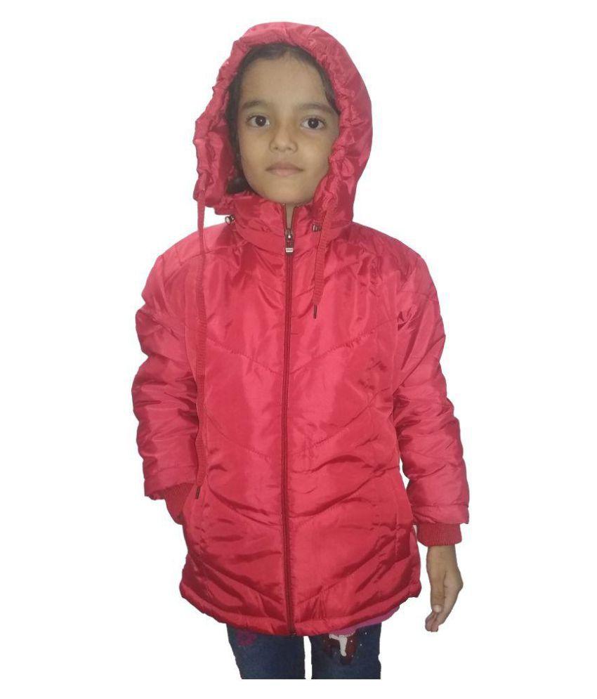Hudbil Girls Polyester Jacket (HB-9-10_Red_9-10 Year)