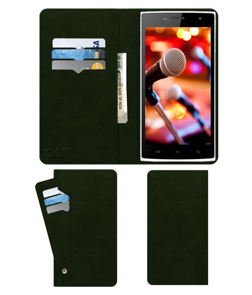 Celkon Millennium Glory Q5 Flip Cover by ACM - Green Wallet Case,Can store 6 Card & Cash,Teal Green