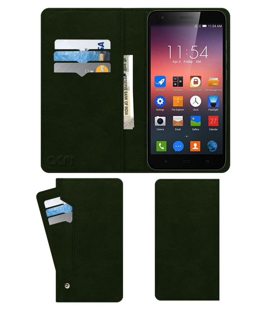 EX782L Flip Cover by ACM - Green Wallet Case,Can store 6 Card & Cash,Teal Green
