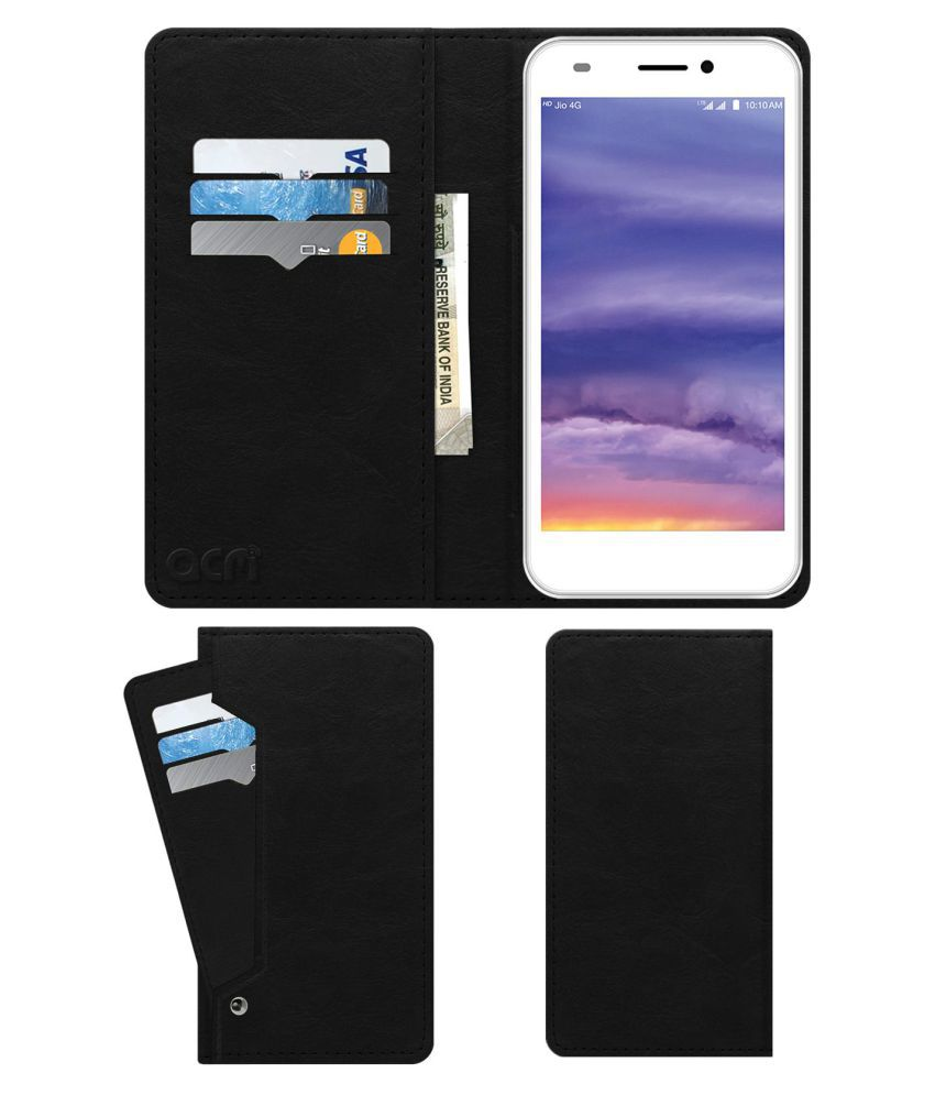 LYF Wind 5 Flip Cover by ACM - Black Wallet Case,Can store 6 Card & Cash,Royal Black