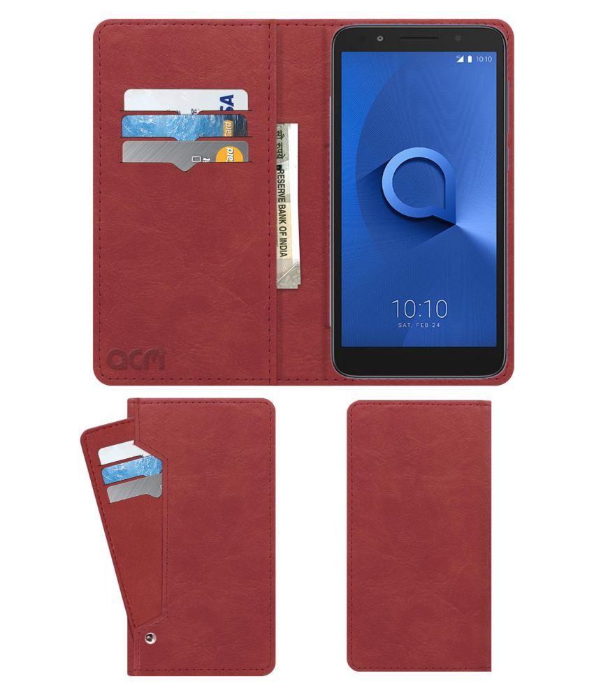 ALCATEL 1X Flip Cover by ACM - Pink Wallet Case,Can store 6 Card & Cash,Peach Pink