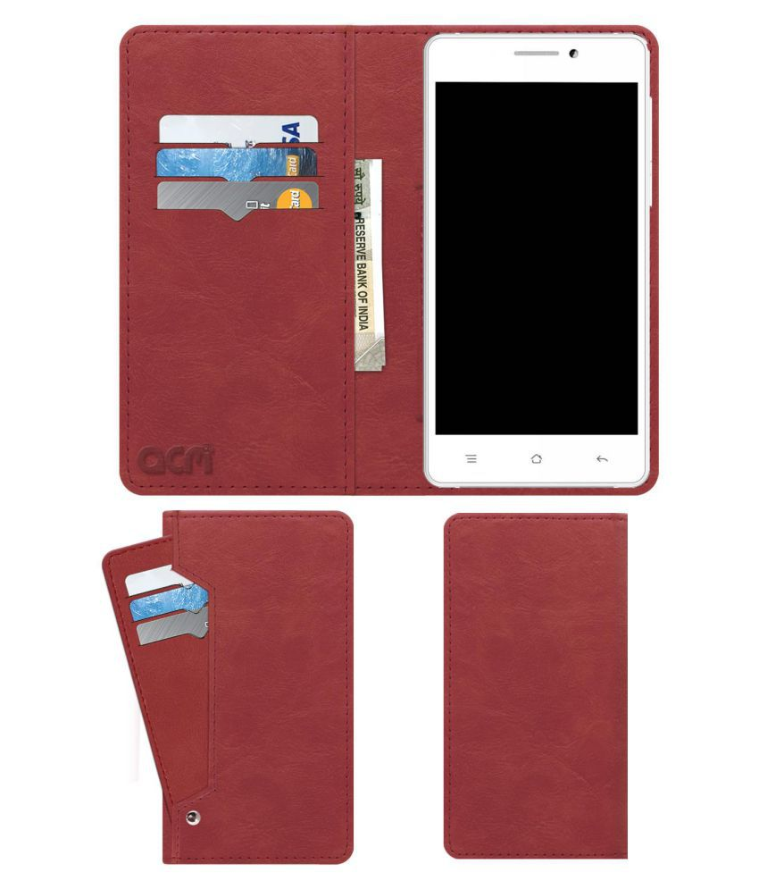 Chilli H5 Smart Flip Cover by ACM - Pink Wallet Case,Can store 6 Card & Cash,Peach Pink