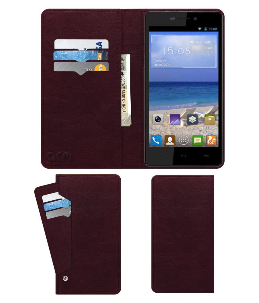 Gionee Marathon M4 Flip Cover by ACM - Red Wallet Case,Can store 6 Card & Cash,Burgundy Red