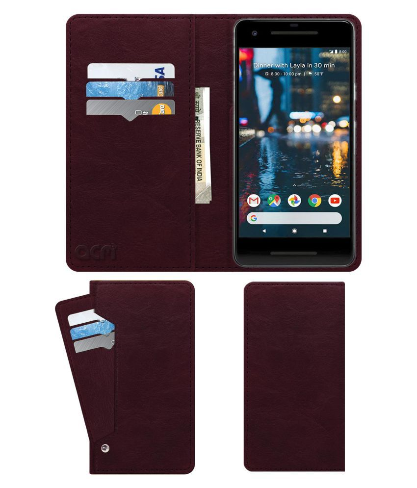 Google Pixel 2 Flip Cover by ACM - Red Wallet Case,Can store 6 Card & Cash,Burgundy Red