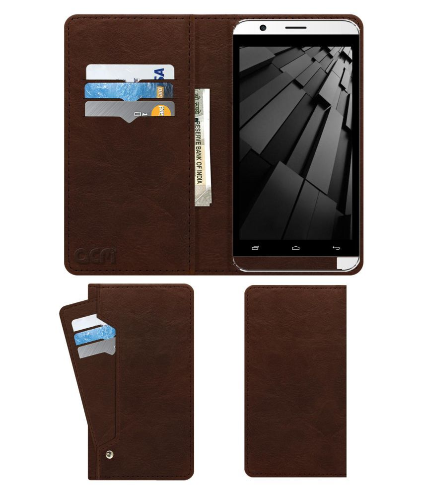 Intex Cloud Force Flip Cover by ACM - Brown Wallet Case,Can store 6 Card & Cash,Rich Brown