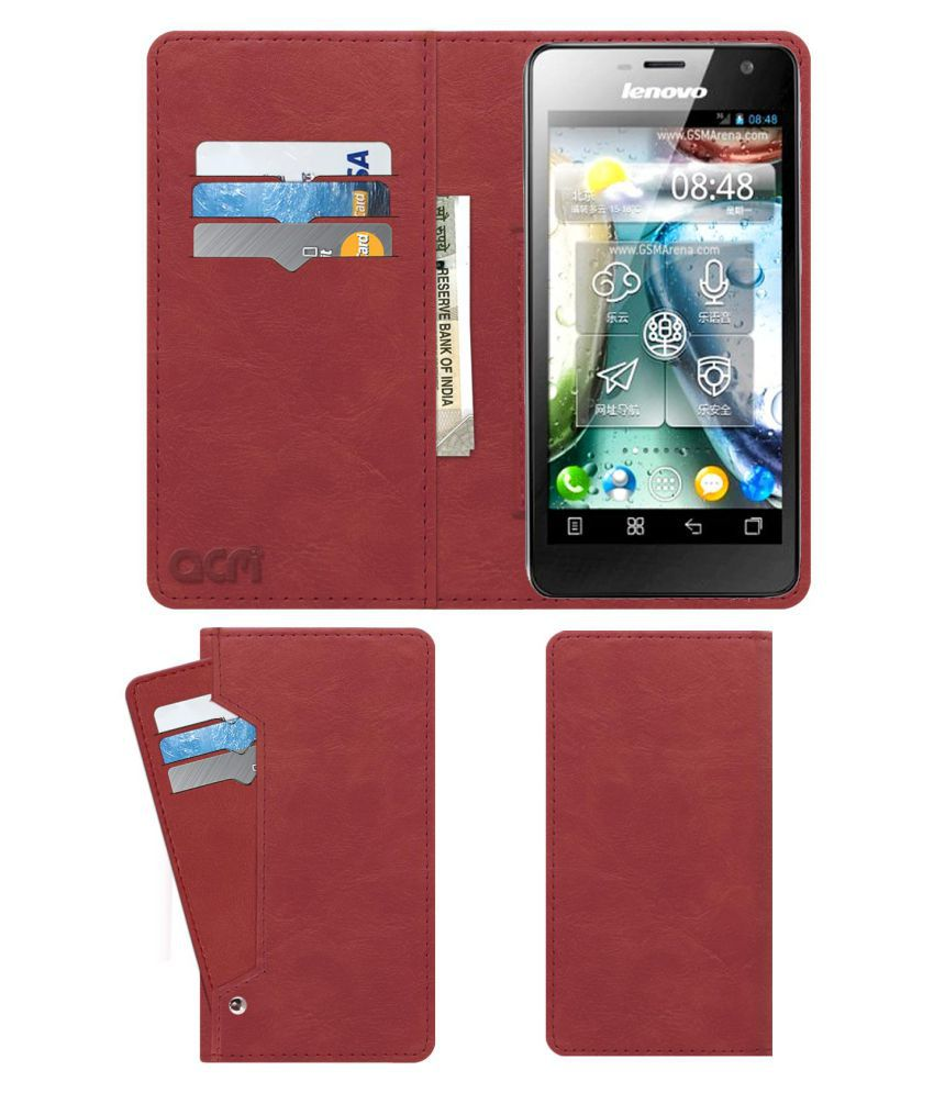 Lenovo K860 Flip Cover by ACM - Pink Wallet Case,Can store 6 Card & Cash,Peach Pink