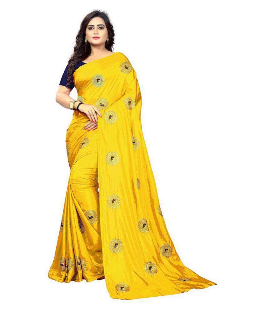 Limedeal Yellow Silk Saree