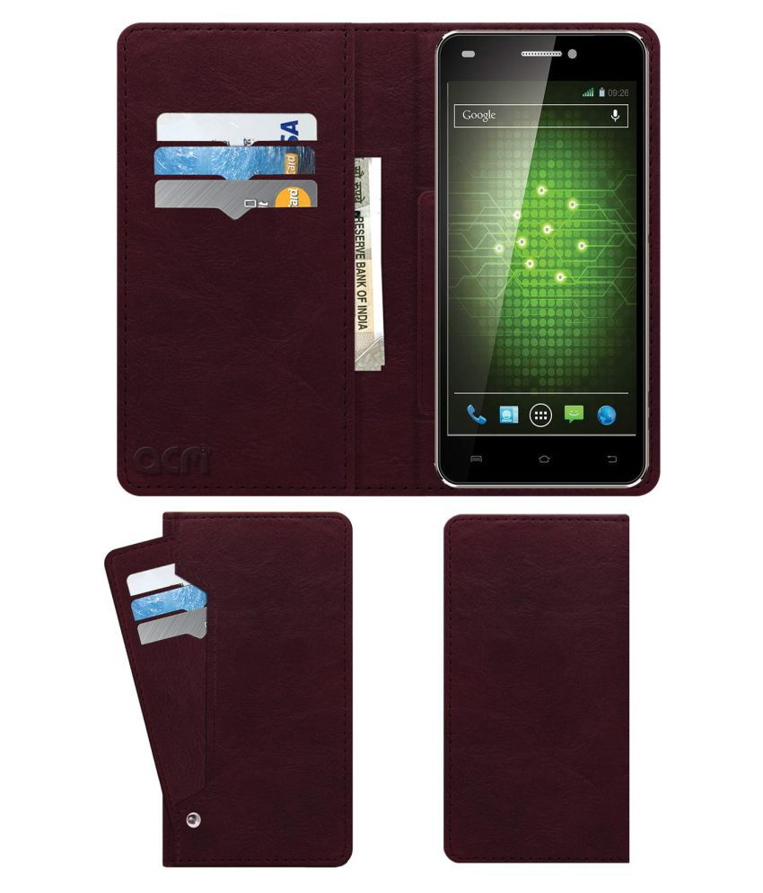 Xolo Q1200 Flip Cover by ACM - Red Wallet Case,Can store 6 Card & Cash,Burgundy Red