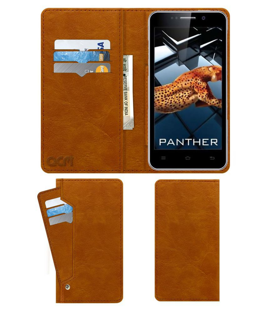 iBall Andi 5K PANTHER Flip Cover by ACM - Golden Wallet Case,Can store 6 Card & Cash,Classic Golden