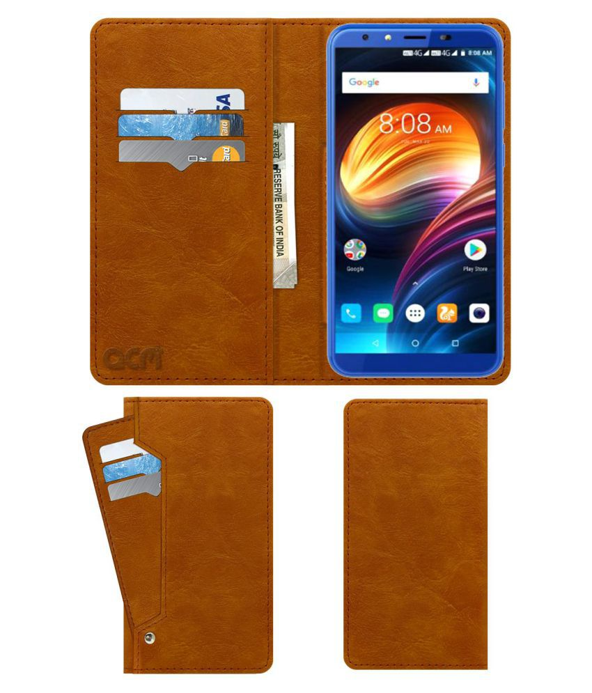 iVoomi I2 Flip Cover by ACM - Golden Wallet Case,Can store 6 Card & Cash,Classic Golden