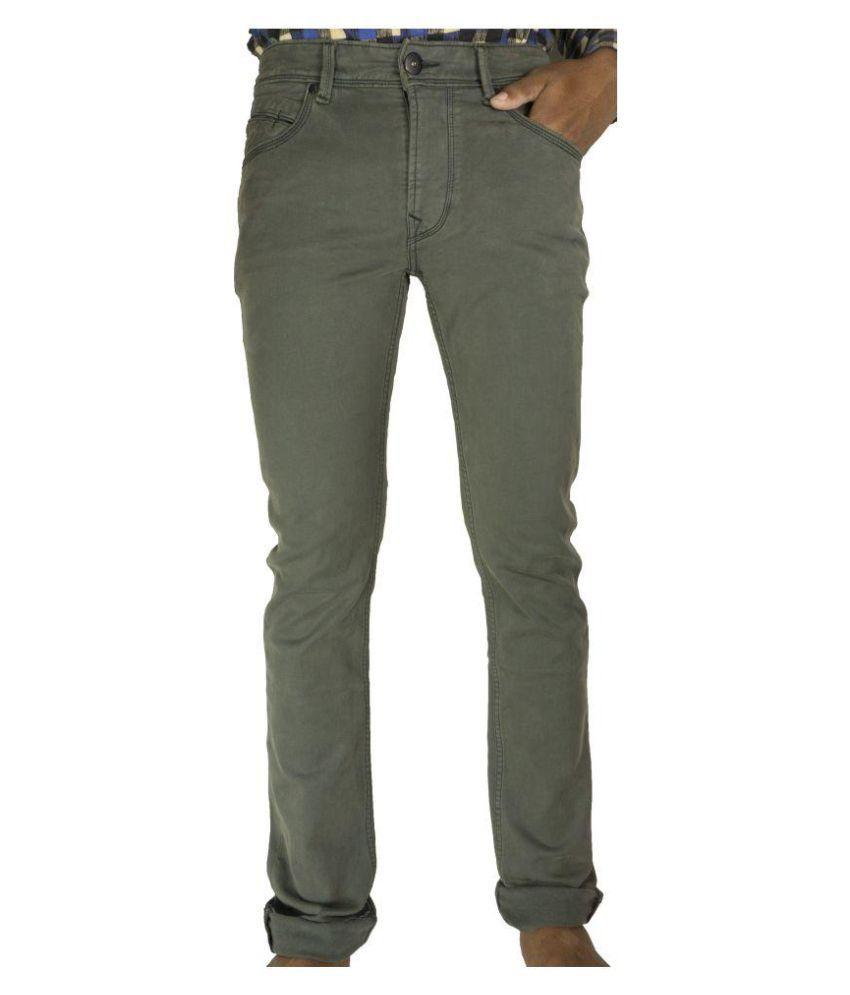 Glaring Textiles Green Regular Fit Jeans