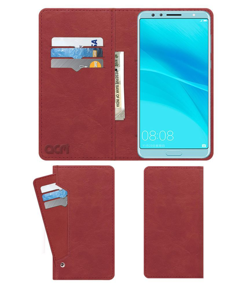 Huawei Nova 2S Flip Cover by ACM - Pink Wallet Case,Can store 6 Card & Cash,Peach Pink