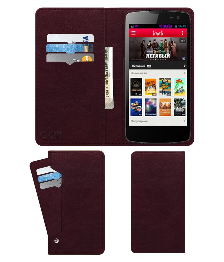 Micromax Canvas Tube A118r Flip Cover by ACM - Red Wallet Case,Can store 6 Card & Cash,Burgundy Red
