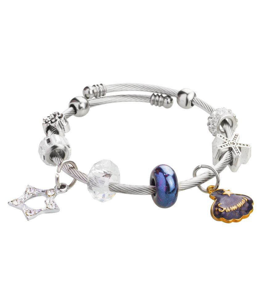 Moon Dust Sterling Silver Plated  Inspired Charms Bracelet For Girls, Teens & Women (MD_3087)