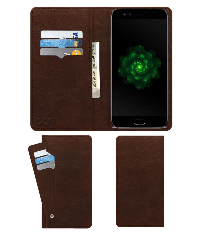 Oppo F3 Dual Selfie Camera Flip Cover by ACM - Brown Wallet Case,Can store 6 Card & Cash,Rich Brown