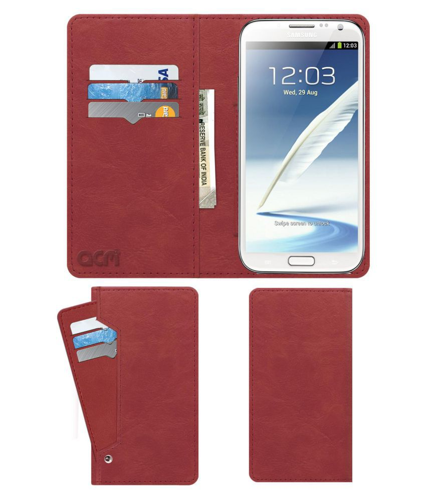 Samsung Galaxy Note 2 Flip Cover by ACM - Pink Wallet Case,Can store 6 Card & Cash,Peach Pink