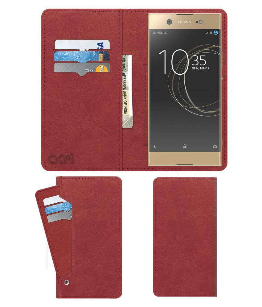 Xperia XA1 Ultra Flip Cover by ACM - Pink Wallet Case,Can store 6 Card & Cash,Peach Pink