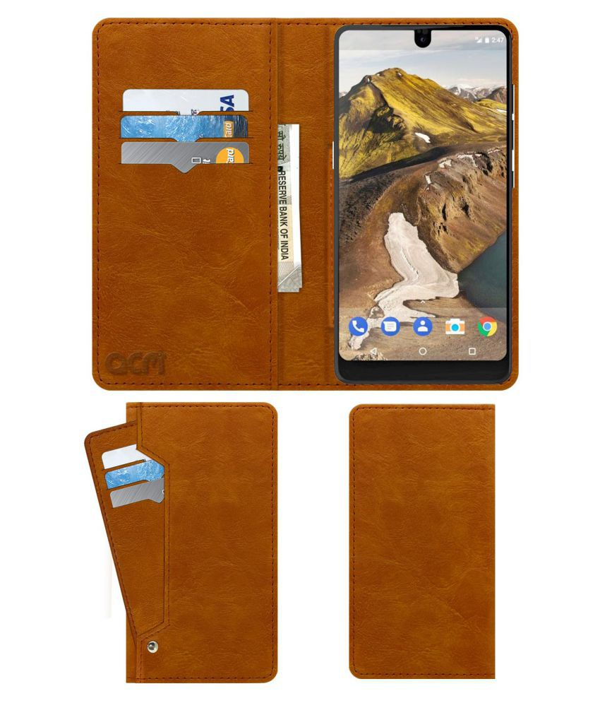 Essential Phone PH-1 Flip Cover by ACM - Golden Wallet Case,Can store 6 Card & Cash,Classic Golden
